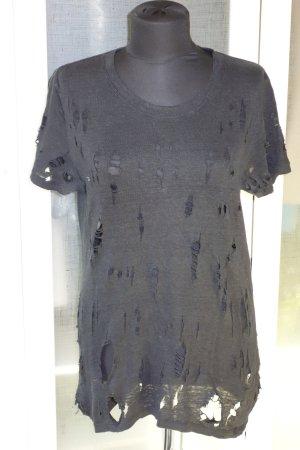 Org. IRO distressed Shirt Leinen schwarz Gr.S