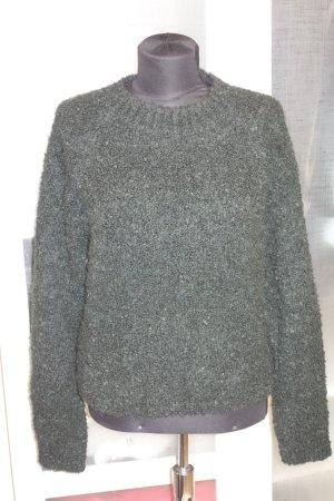 Org. ISABEL MARANT Grobstrick-Pullover aus dickem Wollmix dunkelgrün 38