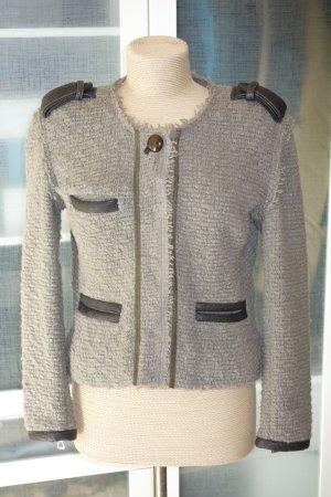 Org. ISABEL MARANT Jacke aus Woll-Bouclé mit Leder-Details Gr.38
