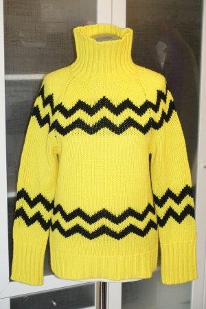 Org. JOSEPH Rollkragen-Pullover aus Lammwoll-Grobstrick in gelb/schwarz Gr.M