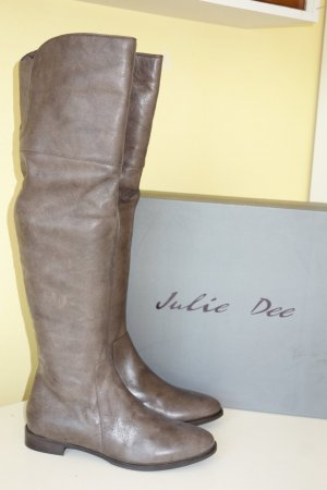 Julie dee Overknees grey brown leather