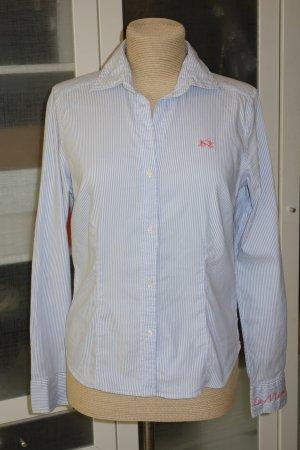 Org. LA MARTINA Streifen-Bluse mit Logo in hellblau/weiß Gr.38
