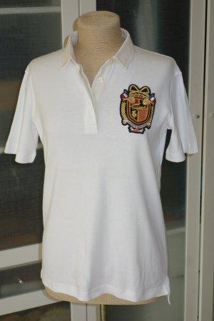 Org. LACOSTE Polo mit besticktem Emblem Gr.40 weiß