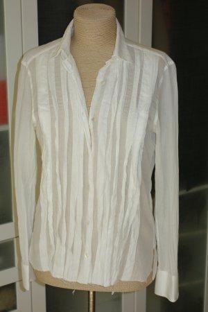 Org. LANVIN Bluse aus Baumwolle mit Drapierungen in weiß Gr.38