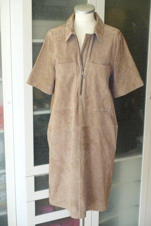 Org. LAUREL oversized Hemdkleid aus Veloursleder in graubraun Gr.36/38 Neu+Etikett