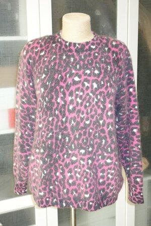 Org. MANOUSH flauschiger Pullover mit Leo-Muster in pink/schwarz/weiß Gr.S