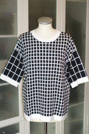 Org. MAURO GRIFONI Kurzarm-Pullover mit Karomuster schwarz/weiß Gr.40 NEU+Etikett
