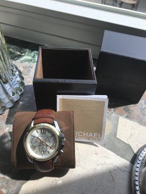 Org. Michael Kors Uhr Silber Gold Braun Lederarmband