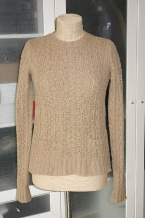 Org. MONCLER Woll-Pullover mit Zopfmuster in beige Gr.S