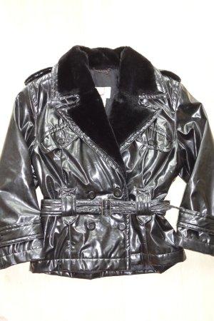 Org. MONDI vintage Lack-Jacke mit fake fur 80s Gr.38