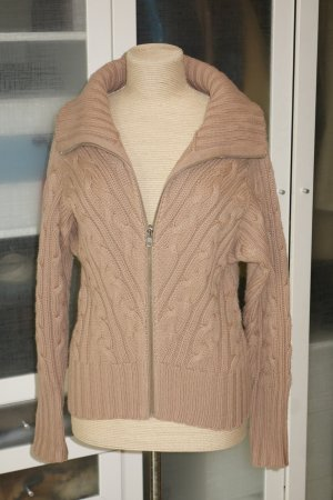 Org. PAUL & JOE Zip-Strickjacke mit Zopfmuster Wolle/Kaschmir in camel Gr.38