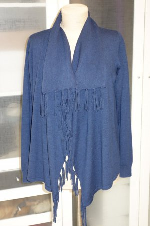 Org. REPEAT Strickjacke mit Fransen aus Wolle in dunkelblau