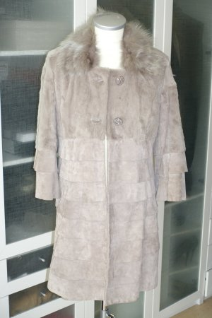 Roberta Biagi Leather Coat grey brown leather