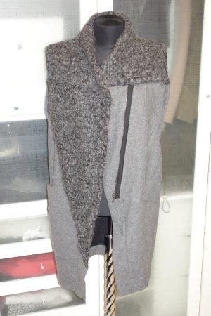 Gilet long tricoté gris