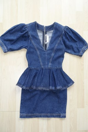 Org. ROTATE Birger Christensen mini Jeanskleid mit Schößchen Detail Gr.32/34 Neu+Etikett