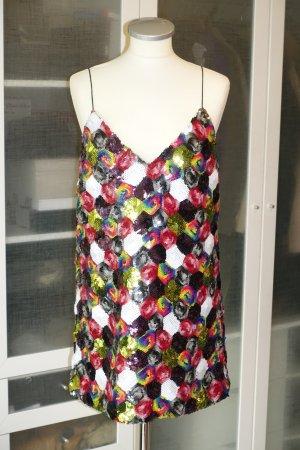 Org. ROTATE Birger Christensen mini Pailletten Kleid multicolour Gr. 38 NEU+Etikett