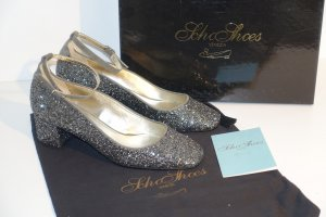 Org. SCHO SHOES Milano Mary Janes mit Glitter in grau/silber Gr.36 Neu+Karton+Dustbag