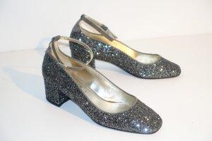 Org. SCHO SHOES Milano Mary Janes mit Glitter in grau/silber NEU+Karton