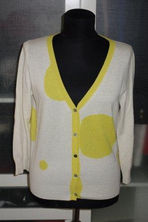 Schumacher Cardigan tricotés blanc-jaune primevère cachemire
