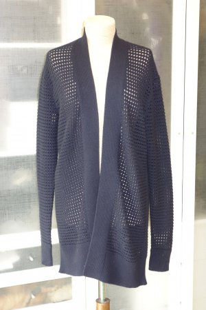 Org. SCHUMACHER perforierter long Cardigan aus Wolle/Kaschmir in dunkelblau Gr.38