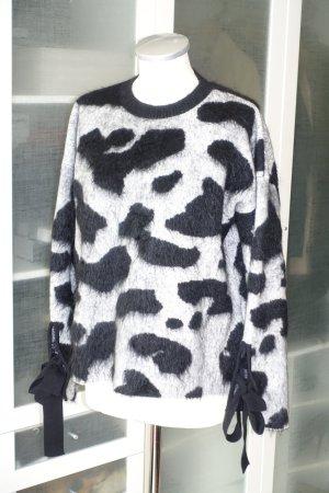Sportmax Maglione di lana nero-grigio chiaro