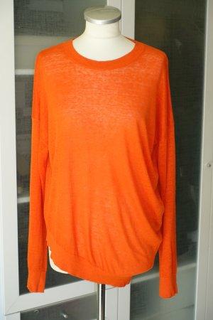 Org. THEORY Pullover in orange mit asymmetrischem Saum Gr.L