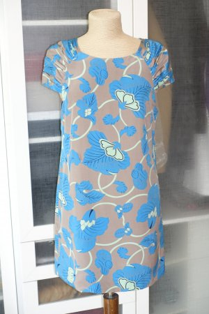 Org. TIBI New York Kleid aus Seide mit Print und drapierten Ärmeln Gr.38