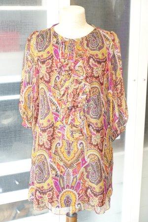 Org. TIBI New York Seidenkleid mit Paisley Muster und Volants Gr.38
