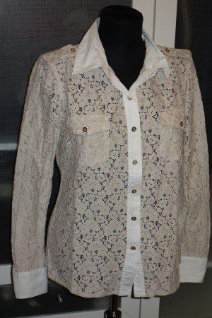 Org. TORY BURCH Bluse aus Spitze mit Brusttaschen in hellbeige Gr.36