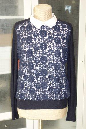 Org. TORY BURCH Pullover mit Spitze in dunkelblau/weiß Gr.38/40