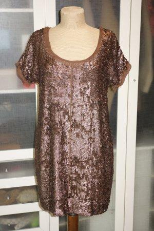 Org. TWIN SET Simona Barbieri Pailetten-Kleid in bronze/kupfer Gr.M
