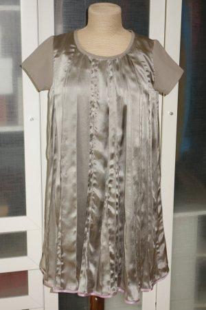 Org. ULI SCHNEIDER Edition Couture Plissée Seidenkleid in grau metallic Gr.36
