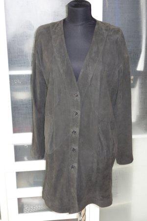 Abrigo de cuero marrón oscuro Gamuza