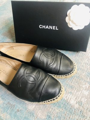 Chanel Espadrille Sandals black leather