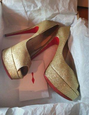 Christian Louboutin Peep Toe Pumps gold-colored