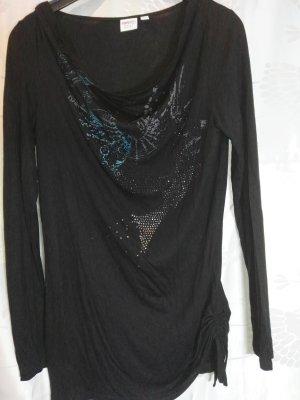Orginal ESPRIT Shirt in schwarz mit ´Glanzsteinchen & Logo, Gr. 38