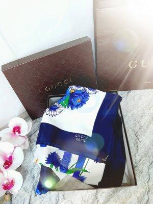Gucci Silk Scarf white-dark blue