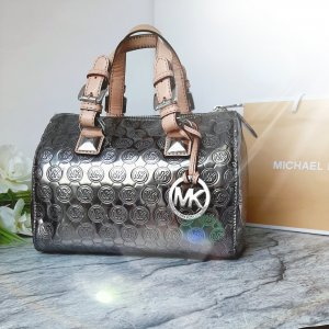 "Orginal Michael Kors Handtasche ""Bouwler Style"", silber, Lackleder, Extravagant, Hochwertig!"