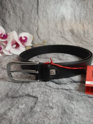 Pierre Cardin Leather Belt black-silver-colored