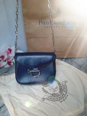 Ralph Lauren Bandolera color plata-azul Cuero