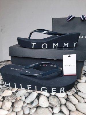 Tommy Hilfiger Toe-Post sandals silver-colored-dark blue