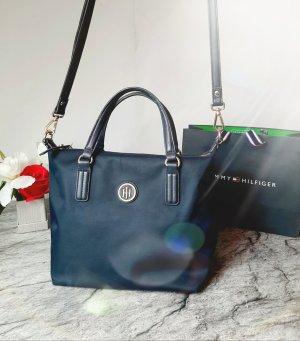 Orginal Tommy Hilfiger Handtasche, blau/ gold, Nylon/ K- Leder, Hochwertig!