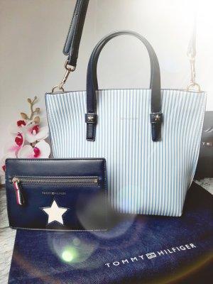 Orginal Tommy Hilfiger Handtasche& Pochette,  blau/ weiss/ gold, Neuwertig!