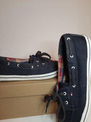 Tommy Hilfiger Zapatos de marinero blanco-azul Algodón