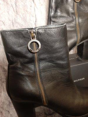Tommy Hilfiger Botte courte noir-bronze cuir