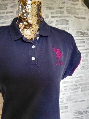 Orginal U.S.Polo Assn. Polo Shirt, blau/beere, Gr. XL/ 42