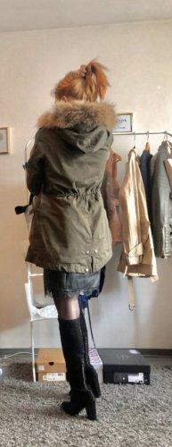 Woolrich Manteau de fourrure bronze-gris vert