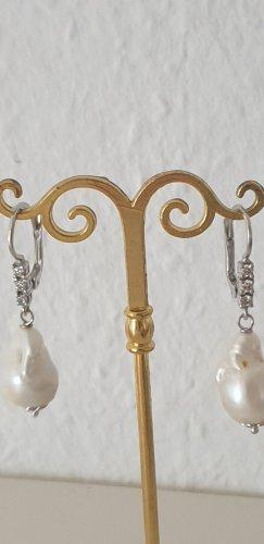 Juwelierarbeit Pendant d'oreille blanc-argenté