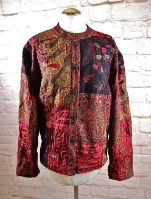 Orientalisch Blazer Jacke Nostalgia Größe XL 42 44 Bordeaux Paisley Orange Braun Bunt Satin Perlen Indisch Stehkragen