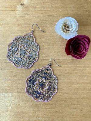 Zdobione kolczyki srebrny-jasny różowy